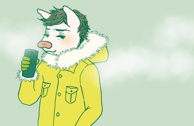 ステキなコートを着ているトン太のイラスト