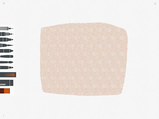パターンツールで、オレンジ色のパターンの面を作ったところ