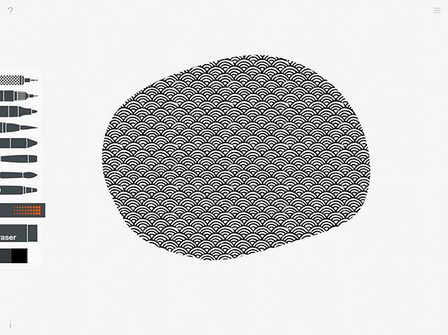 パターンツールで、白黒の模様の円を作ったところ