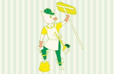 大掃除をしているトン太のイラスト