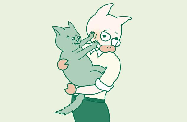 トン十郎に抱っこされてマジギレしている猫のイラスト