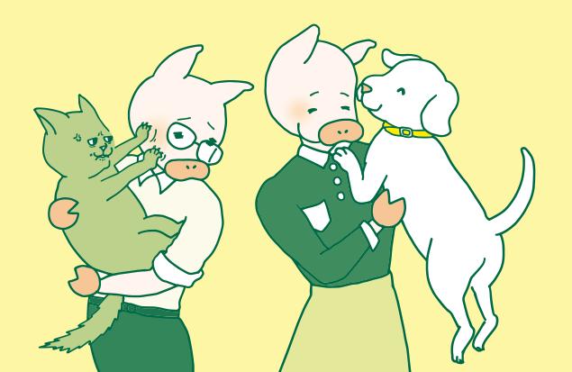 猫好きと犬好きが並んでいるイラスト