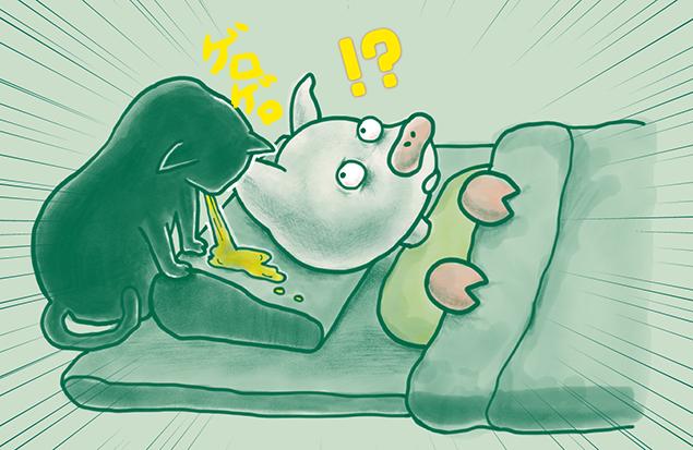 みちトンの枕元で猫がゲロゲロしているイラスト