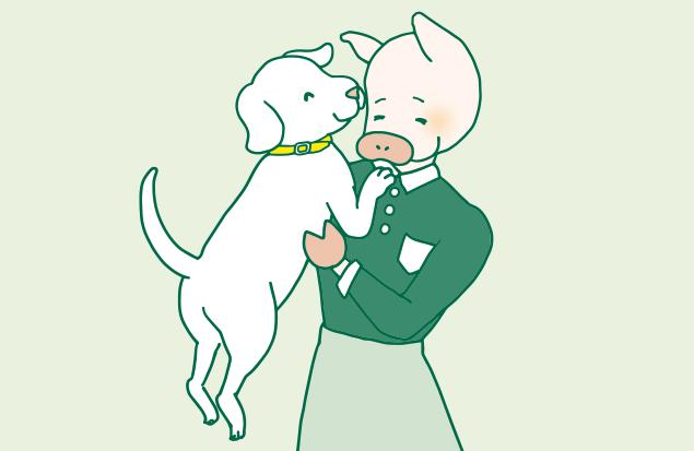 かよトンに抱っこされている犬のイラスト