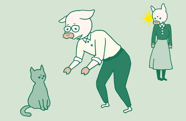 猫にメロメロなトン十郎と、後ろで密かに起こっているかよトンのイラスト