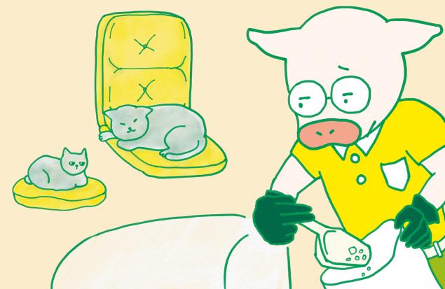 猫トイレを掃除しているトン十郎と、後ろでくつろいでいる猫さま2匹のイラスト