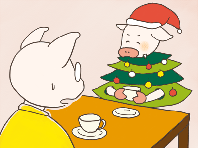 トン十郎と、クリスマスツリーの格好をした妻のイラスト