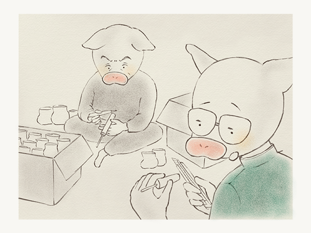 内職のバリ取りをする、トン十郎とその父のイラスト