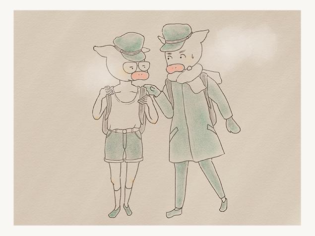 ランニングと短パンで通学するトン十郎のイラスト