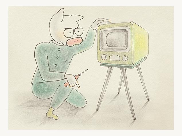 真空管テレビを自分で治そうとしている、高校時代のトン十郎のイラスト