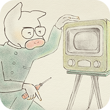 壊れたテレビを修理している若き日のトン十郎のイラスト(記事に飛ぶ)