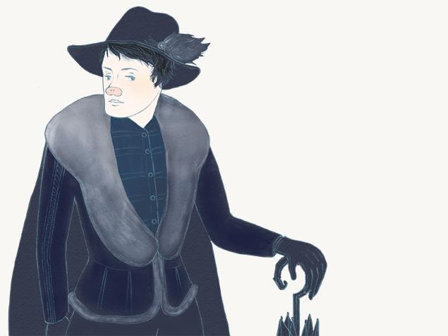 中世ヨーロッパ風に冬のオシャレを楽しむ、トン太のイラスト