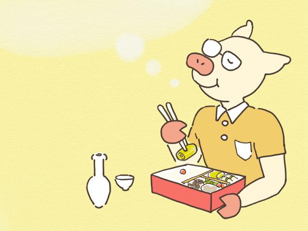 駅弁を食べながら、ばかなことを考えているトン十郎のイラスト