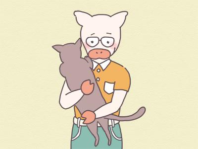 猫を抱いて嬉しそうなトン十郎のイラスト
