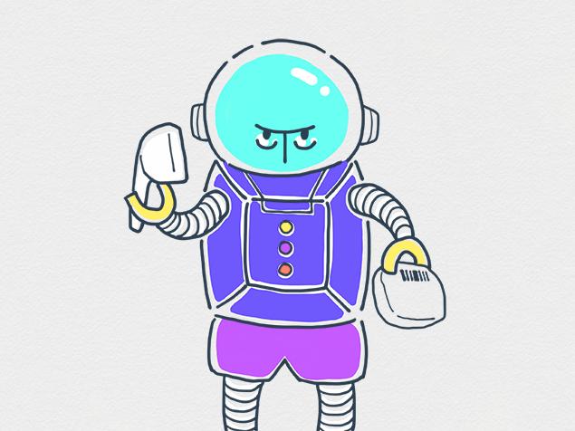 レジ係をしているロボットのイラスト