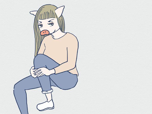 ノームコアっぽい女性のイラスト