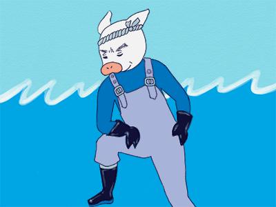いかにも「海の男」な、トン十郎の父・トン一郎のイラスト