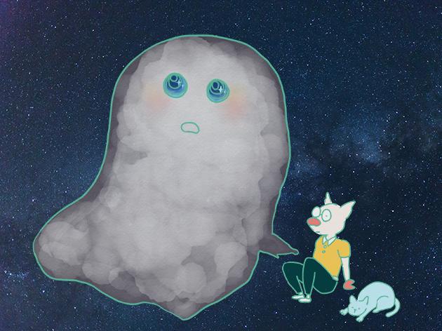 星を眺めるオバケ・トン十郎・猫のイラスト