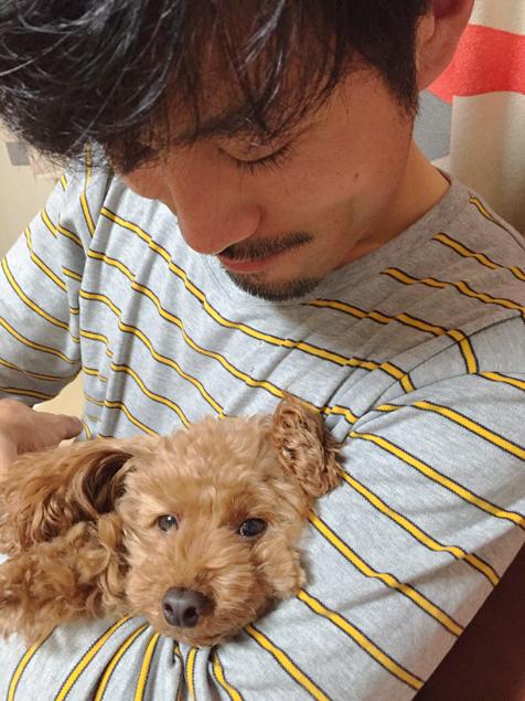 「トン太と犬の写真