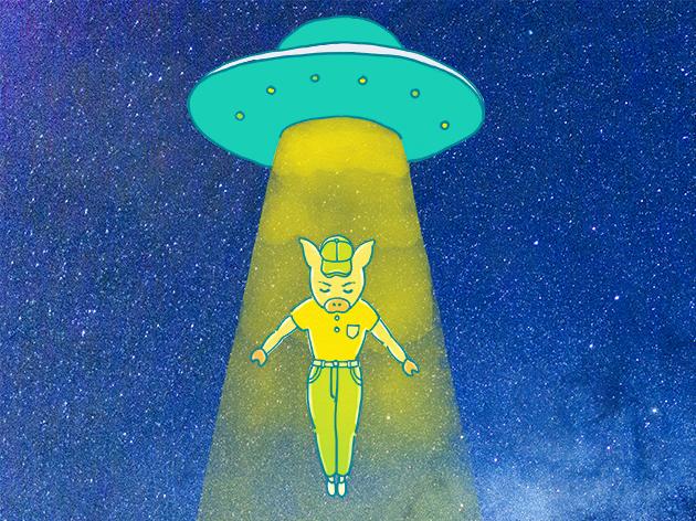 UFOから降りてくるトン太のイラスト