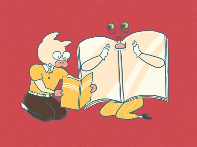 エンディングノートを見ているところのイラスト