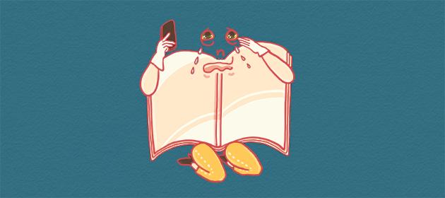 泣きながら電話するエンディングノートちゃんのイラスト