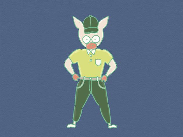 ロコモ体操をやる気満々のトン十郎のイラスト