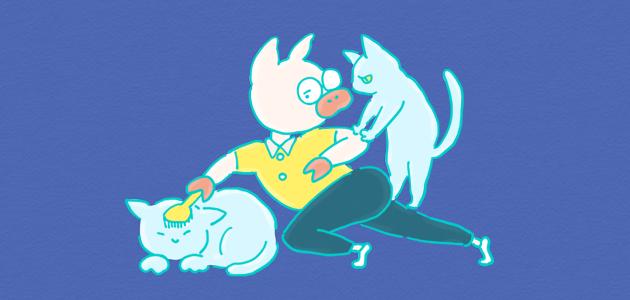 愛猫とトン十郎のイラスト