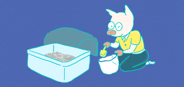猫トイレの掃除をしているイラスト