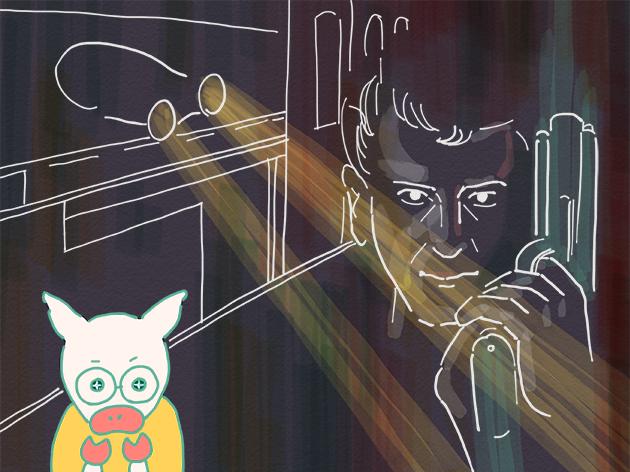 映画「ブレードランナー」に想いを馳せるトン十郎のイラスト