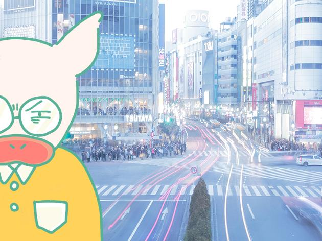 渋谷のスクランブル交差点をうっすら見つめるトン十郎のイラスト