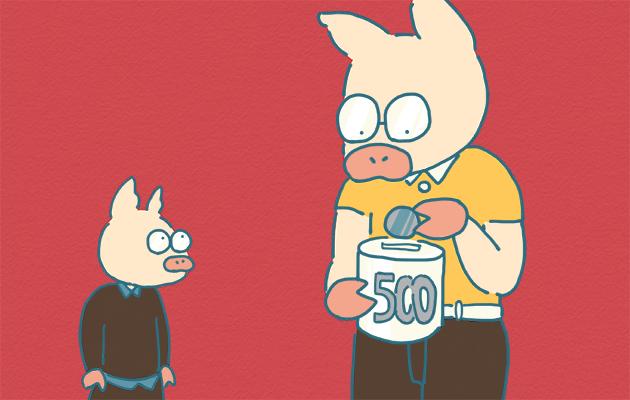 老後に備えて500円玉貯金するトン十郎のイラスト