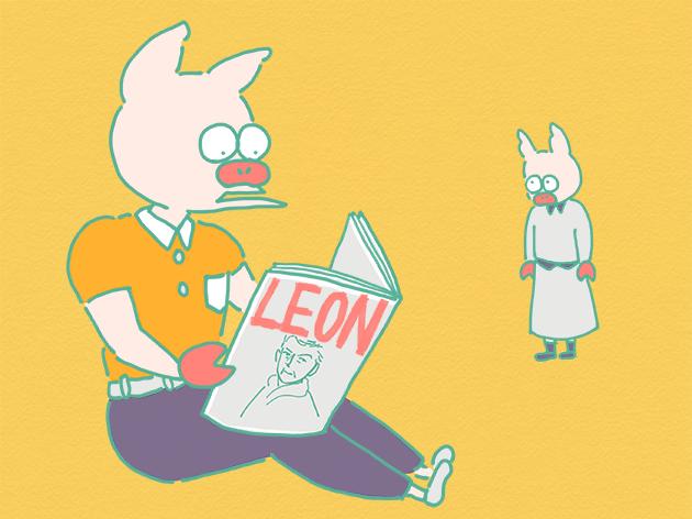 雑誌「LEON」を読むトン十郎のイラスト
