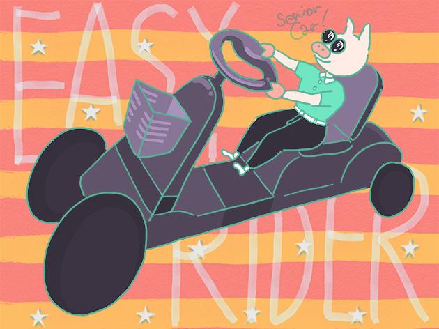 イージーライダーなシニアカーに乗るトン十郎のイラスト
