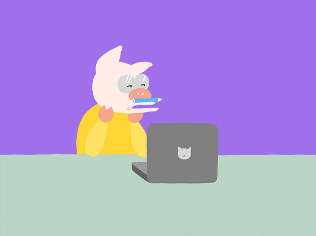 ブログを執筆するトン十郎のイラスト