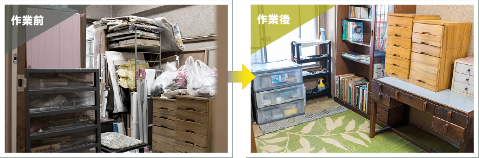 生前整理前後の写真3.物置部屋