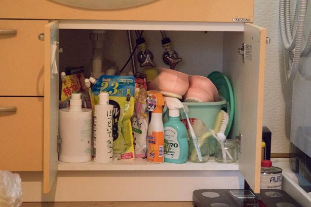ビフォー写真:洗面台下の収納棚