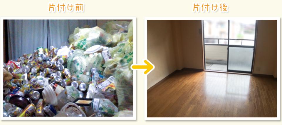 ゴミ屋敷・汚部屋片付け、掃除のビフォーアフター写真(リビング)
