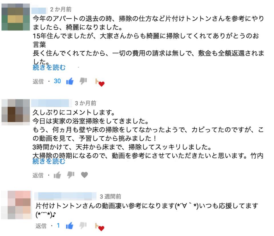 YouTubeコメント欄の「片付けや掃除の仕方」に関するコメントを集めた画像