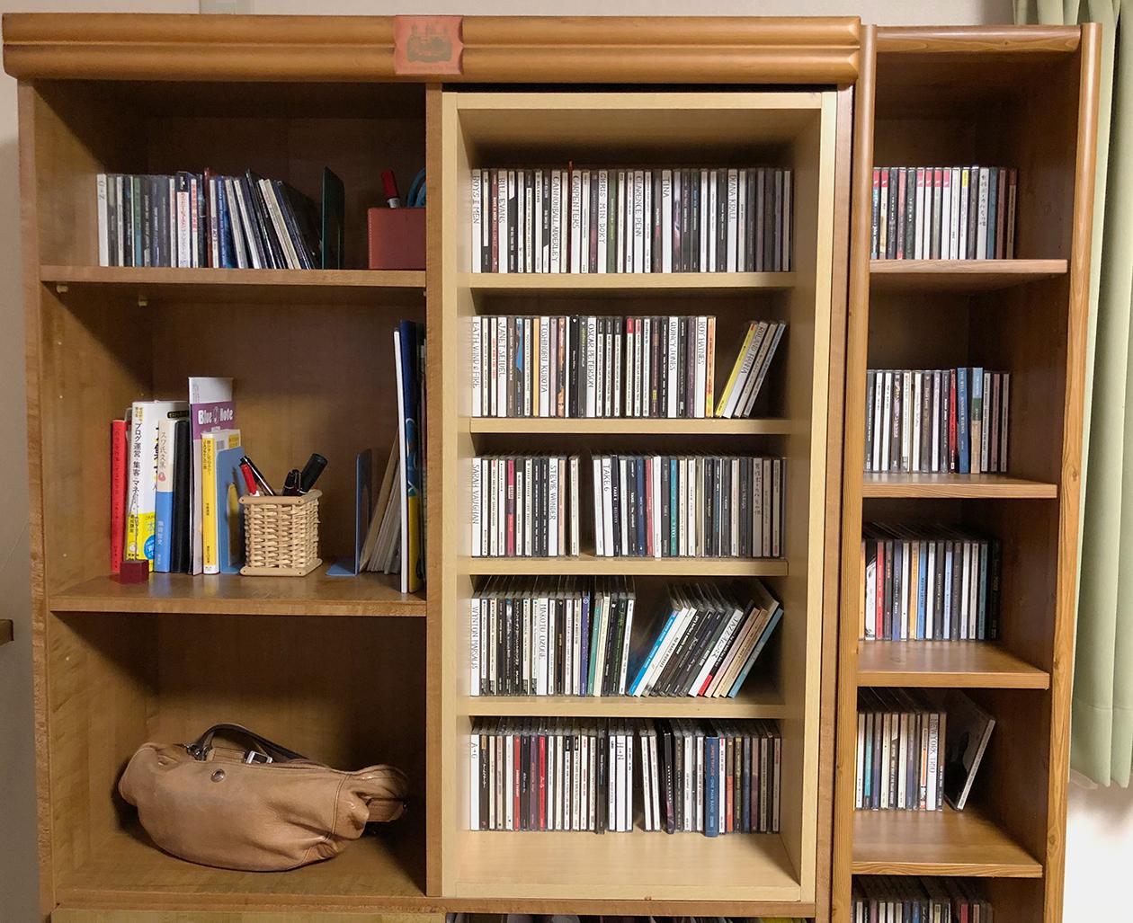 自作のCDラックをはめ込んだ棚の写真