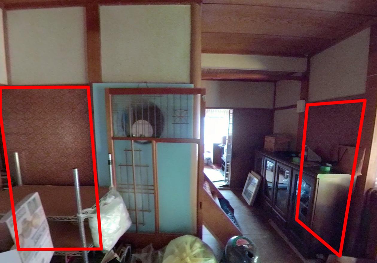 隠し部屋があった場所を示している写真