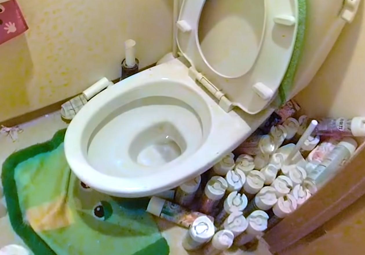 衣類やダンボール、資源ゴミいっぱいのワンルーム!作業前、トイレの画像