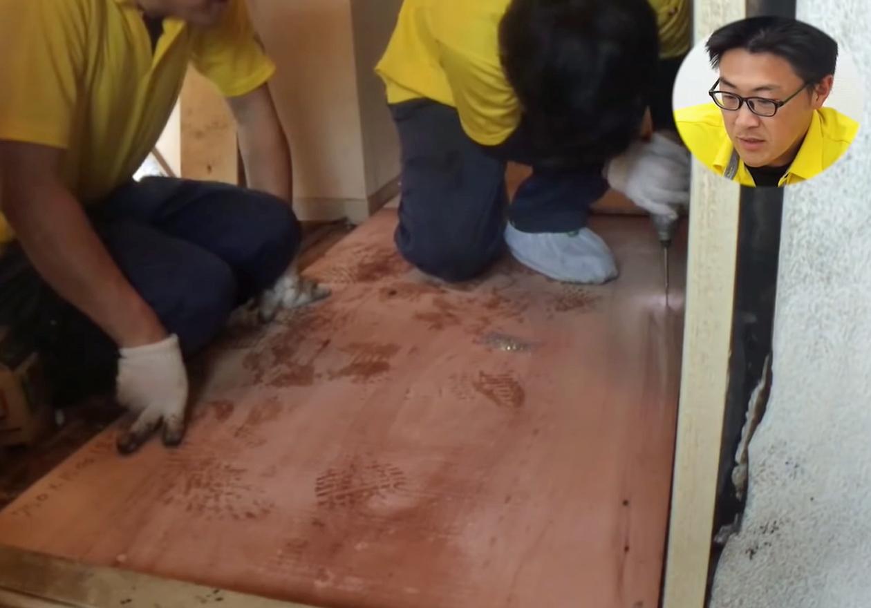 床を補修した写真