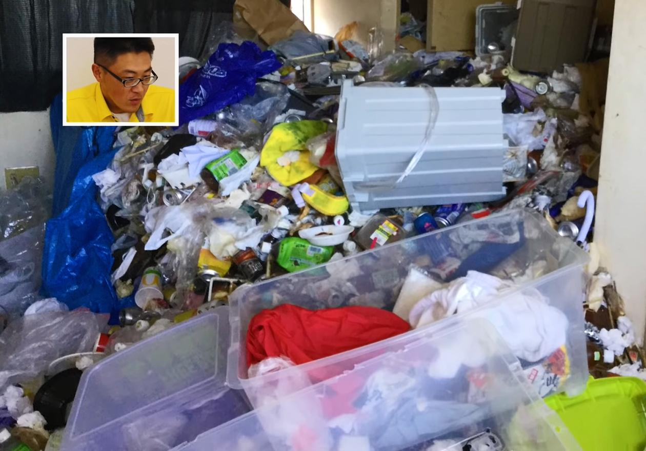 食べ物などのゴミで溢れたアパートのビフォー写真