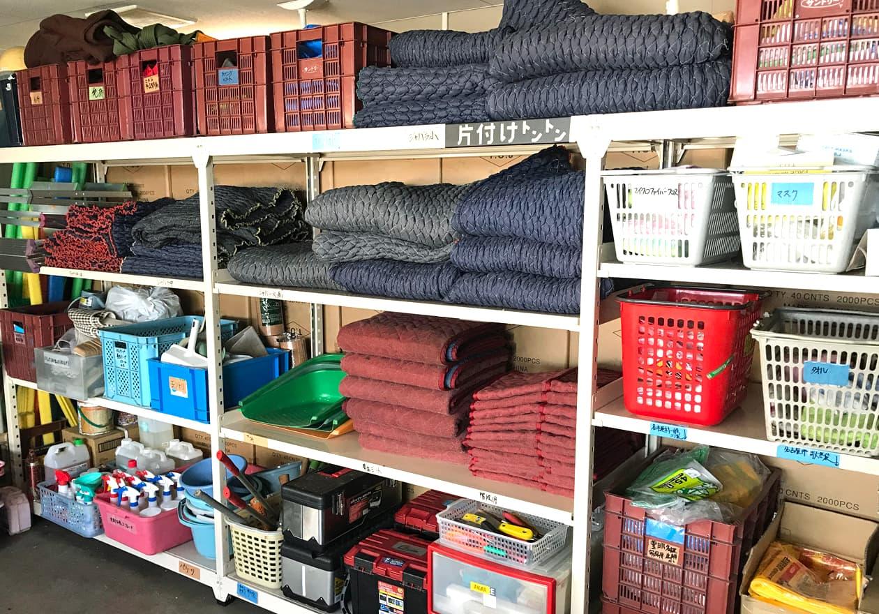 整理整頓してある道具保管場所の様子