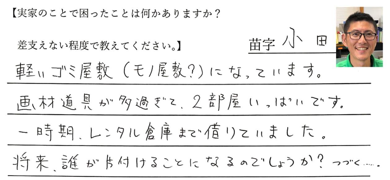 小田の回答、軽いゴミ屋敷(モノ屋敷?)になっています。画材道具が多過ぎて、2部屋いっぱいです。一時期、レンタル倉庫まで借りていました。将来、誰が片付けることになるのでしょうか?つづく・・・。