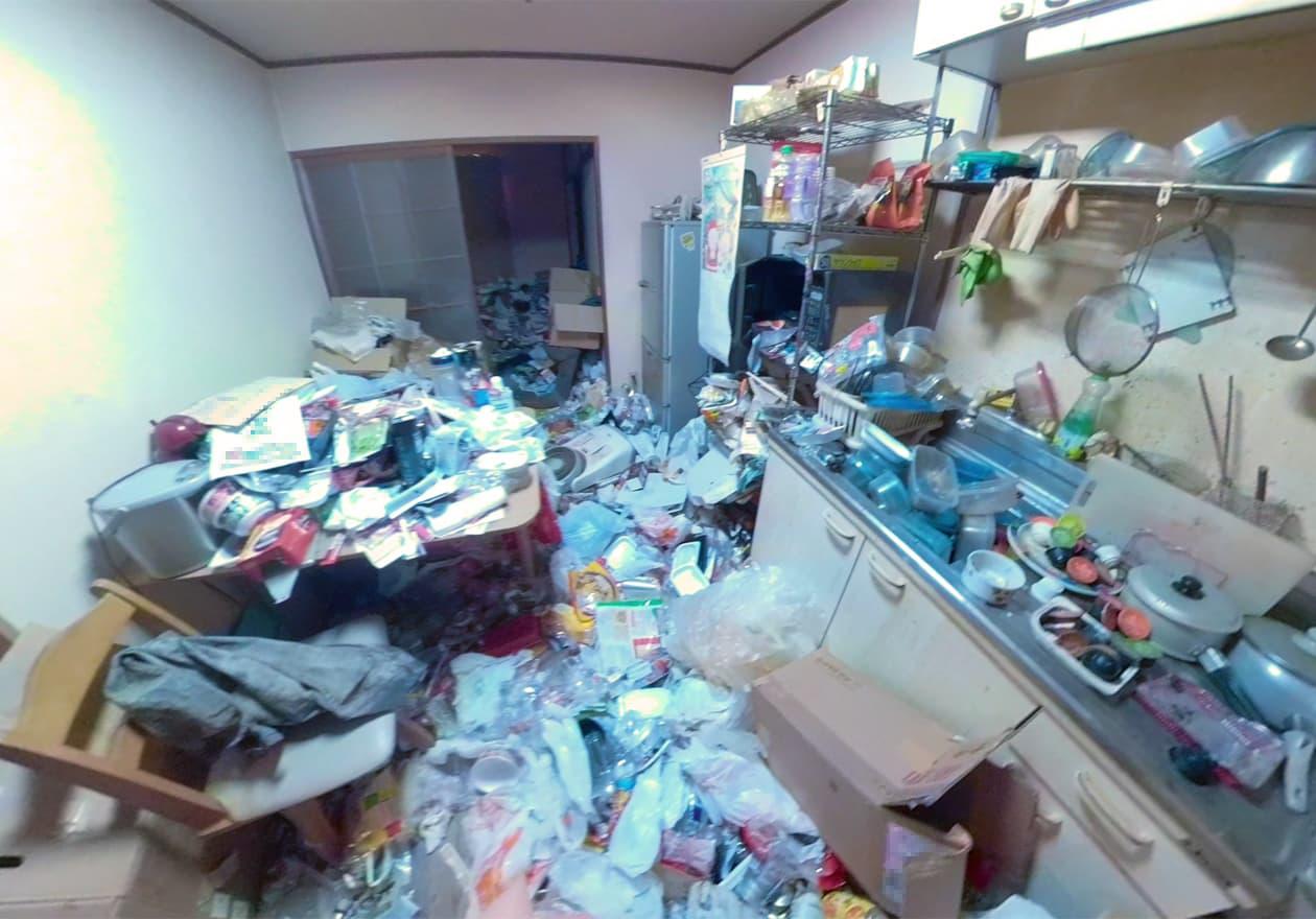ヒザの高さまでゴミがたまっているキッチン周辺の様子