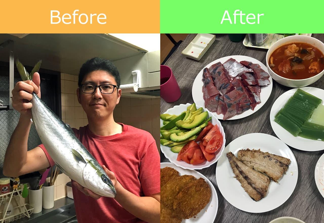 調理する前のハマチと調理後のハマチの写真