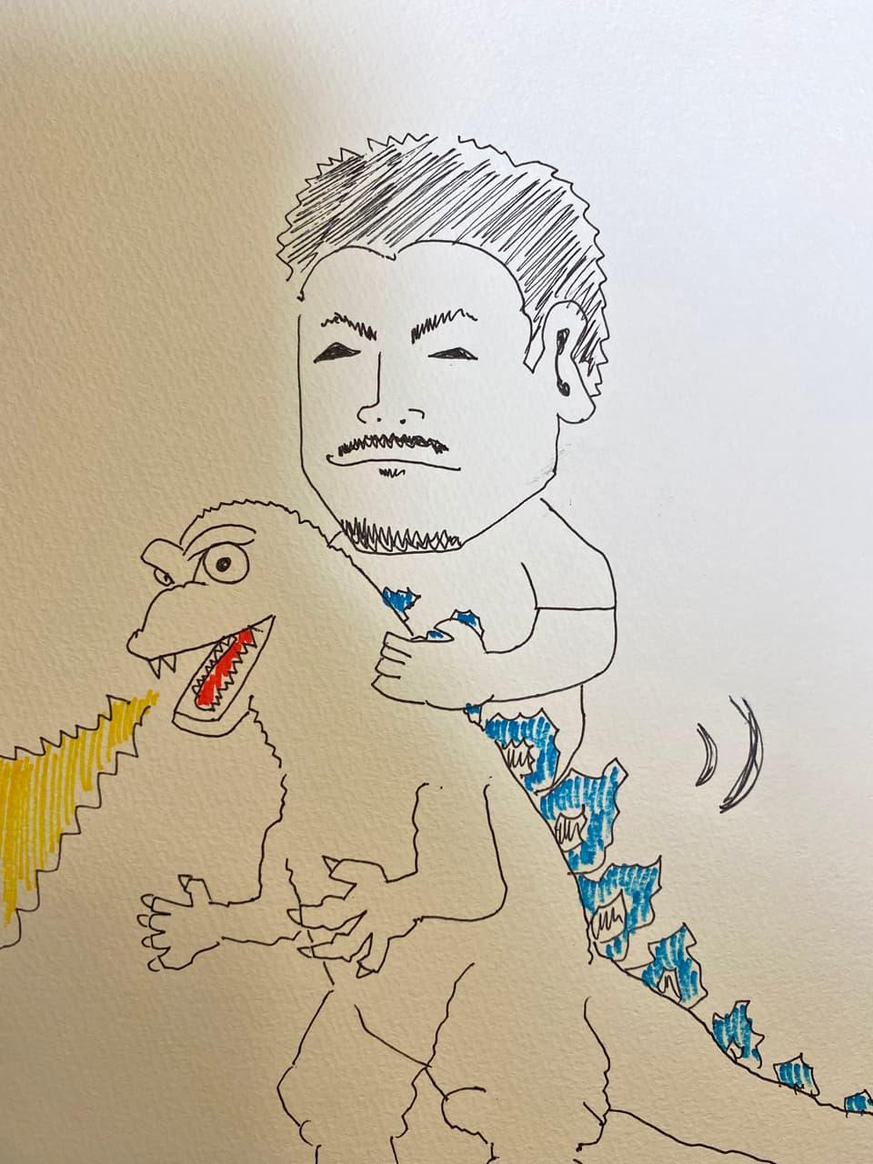 ゴジラを動かして遊んでいる様子のイラスト