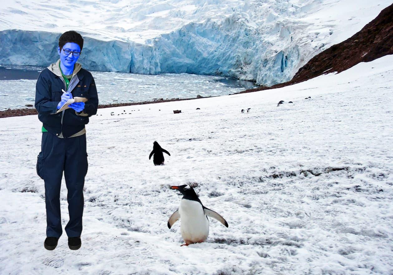 南極で日記を書いている小田の画像